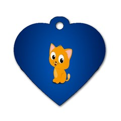 Cute Cat Dog Tag Heart (one Side)