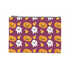 Pumpkin Ghost Canddy Helloween Cosmetic Bag (large)