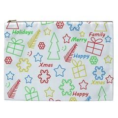 Simple Christmas Pattern Cosmetic Bag (xxl)  by Valentinaart