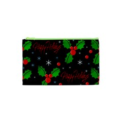 Happy Holidays Pattern Cosmetic Bag (xs) by Valentinaart