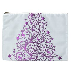 Elegant Starry Christmas Pink Metallic Look Cosmetic Bag (xxl)  by yoursparklingshop