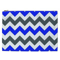 Grey And Blue Chevron Cosmetic Bag (xxl)  by AnjaniArt
