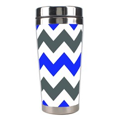 Grey And Blue Chevron Stainless Steel Travel Tumblers by AnjaniArt