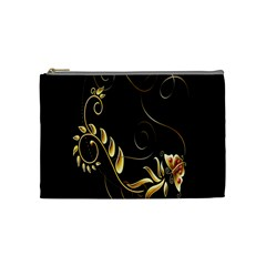 Butterfly Black Golden Cosmetic Bag (medium)  by AnjaniArt