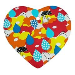 Bear Umbrella Heart Ornament (2 Sides)