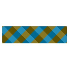 Plaid Line Brown Blue Box Satin Scarf (oblong) by AnjaniArt