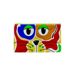 Colorful Cat Cosmetic Bag (xs) by Valentinaart