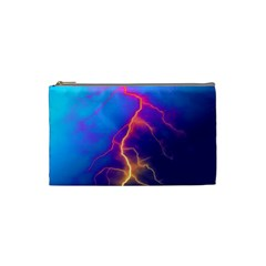 Lightning Colors, Blue Sky, Pink Orange Yellow Cosmetic Bag (small)  by picsaspassion