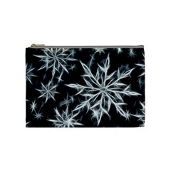 Snowflake In Feather Look, Black And White Cosmetic Bag (medium)  by picsaspassion