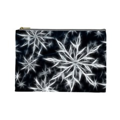 Snowflake In Feather Look, Black And White Cosmetic Bag (large)  by picsaspassion