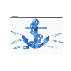 Anchor Aquarel Painting Art, Soft Blue Cosmetic Bag (large)  by picsaspassion