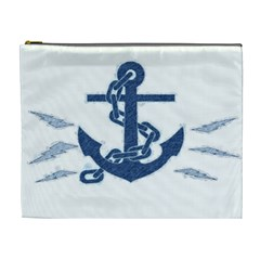 Blue Anchor Oil Painting Art Cosmetic Bag (xl) by picsaspassion