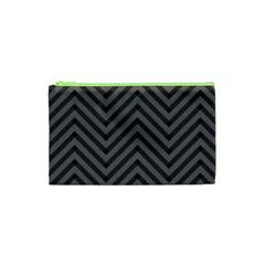Background Gray Zig Zag Chevron Cosmetic Bag (xs) by AnjaniArt