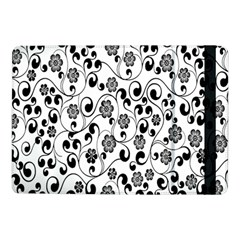 Black White Floral Samsung Galaxy Tab Pro 10 1  Flip Case by AnjaniArt