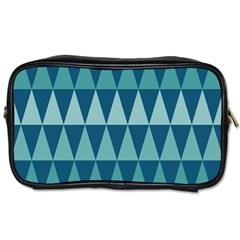 Blues Long Triangle Geometric Tribal Background Toiletries Bags by AnjaniArt