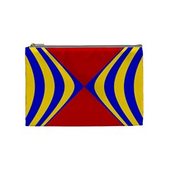 Concentric Hyperbolic Red Yellow Blue Cosmetic Bag (medium)