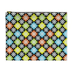 Diamond Argyle Pattern Flower Cosmetic Bag (xl) by AnjaniArt
