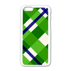 Green Plaid Apple Iphone 6/6s White Enamel Case by AnjaniArt