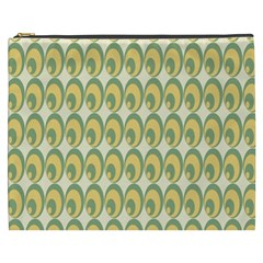 Pattern Circle Green Yellow Cosmetic Bag (xxxl)  by AnjaniArt