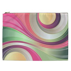 Abstract Colorful Background Wavy Cosmetic Bag (xxl)  by Amaryn4rt