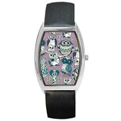 Seamless Owl Pattern Purple Barrel Style Metal Watch by AnjaniArt