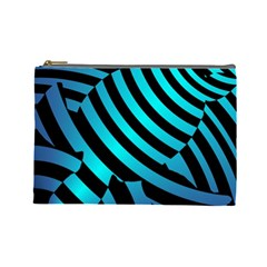 Turtle Swimming Black Blue Sea Cosmetic Bag (large)  by AnjaniArt