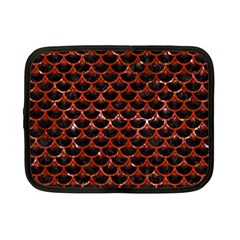Scales3 Black Marble & Red Marble Netbook Case (small) by trendistuff
