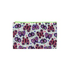 Pink Purple Butterfly Cosmetic Bag (xs) by Jojostore