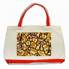 Face Cat Cute Purple Yellow Classic Tote Bag (red)