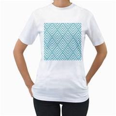 Geometric Blue Women s T Shirt (white)  by Jojostore