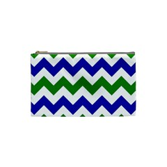 Blue And Green Chevron Cosmetic Bag (small)  by Jojostore