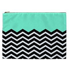 Blue Chevron Cosmetic Bag (xxl)  by Jojostore