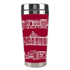 City Building Red Stainless Steel Travel Tumblers by Jojostore