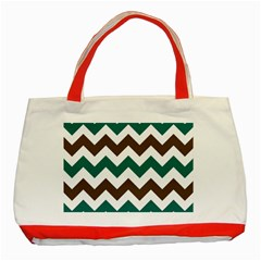 Green Chevron Classic Tote Bag (red)