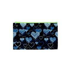 Blue Harts Pattern Cosmetic Bag (xs) by Valentinaart
