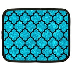 Tile1 Black Marble & Turquoise Marble (r) Netbook Case (large) by trendistuff