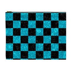 Square1 Black Marble & Turquoise Marble Cosmetic Bag (xl) by trendistuff