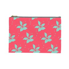 Flower Green Red Cosmetic Bag (large)  by Jojostore