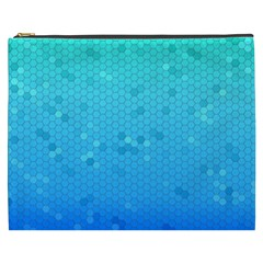 Blue Seamless Black Hexagon Pattern Cosmetic Bag (xxxl)