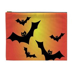 Bats Orange Halloween Illustration Clipart Cosmetic Bag (xl) by Jojostore