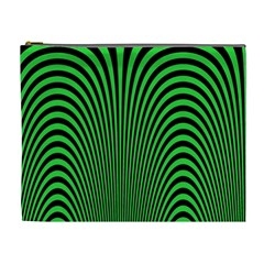 Green Optical Illusion Cosmetic Bag (xl) by Jojostore
