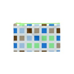 Colorful Green Background Tile Pattern Cosmetic Bag (xs) by Amaryn4rt