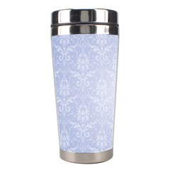 Damask Pattern Wallpaper Blue Stainless Steel Travel Tumblers by Amaryn4rt