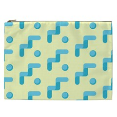 Squiggly Dot Pattern Blue Yellow Circle Cosmetic Bag (xxl)