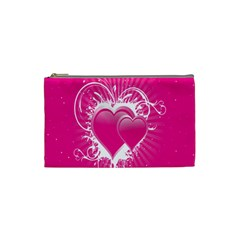 Valentine Floral Heart Pink Cosmetic Bag (small)