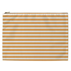 Horizontal Stripes Orange Cosmetic Bag (xxl)  by AnjaniArt