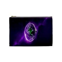 Purple Space Planet Earth Cosmetic Bag (medium)  by AnjaniArt