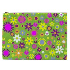 Colorful Floral Flower Cosmetic Bag (xxl)  by AnjaniArt