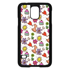 Doodle Wallpaper Samsung Galaxy S5 Case (black) by Nexatart
