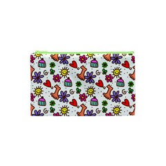 Doodle Wallpaper Cosmetic Bag (xs) by Nexatart